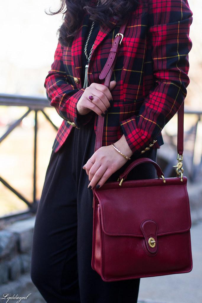 faux jumpsuit, red plaid blazer, red coach bag-6.jpg