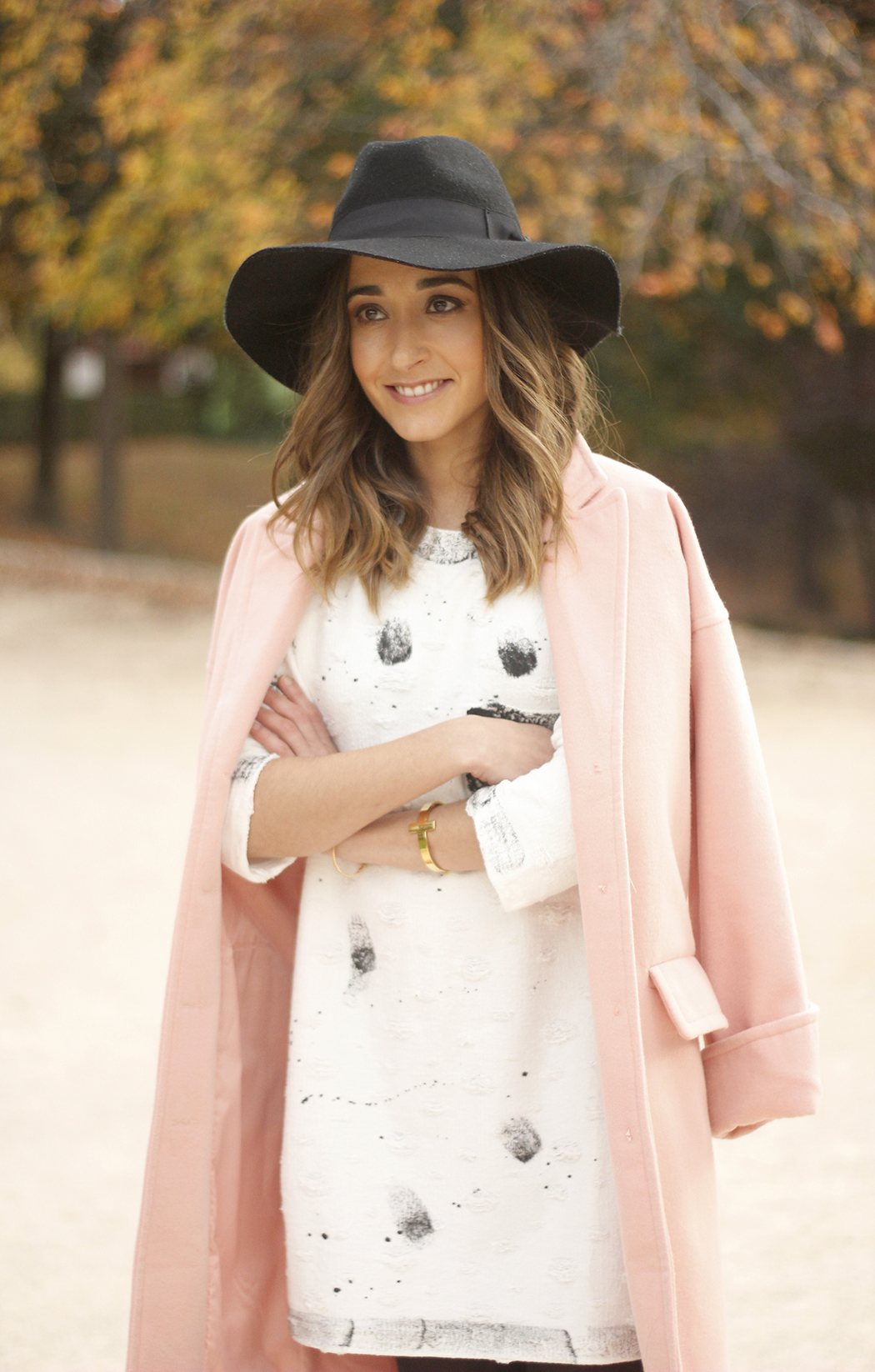 Black and White Dress Pink Coat Black Hat outfit style over the knees boots11