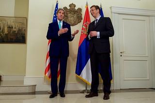Secretary Kerry Makes a Statement Alongside Serbian Prime Minister Vucic in Belgrade