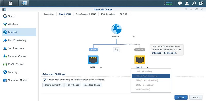 Synology SRM - Network Center - Secondary WAN