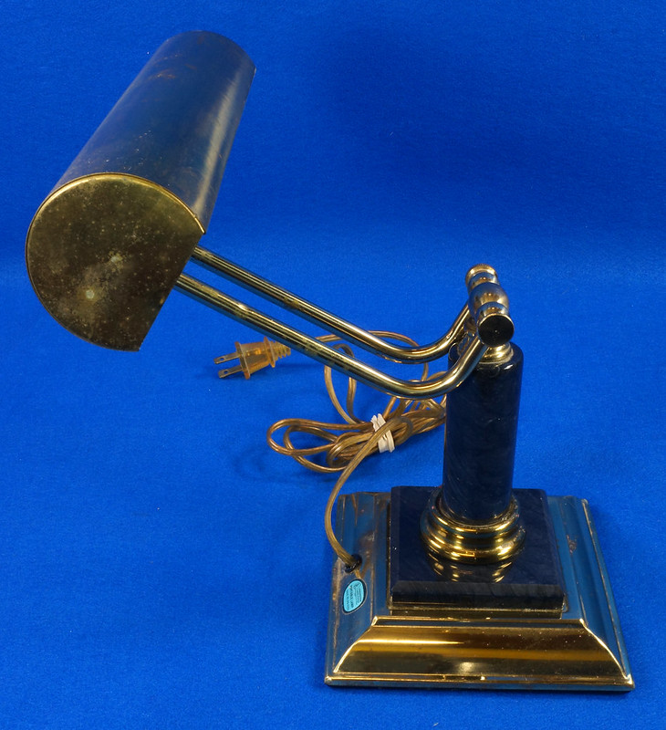 RD15125 Vintage Brass & Marble Bankers Desk Piano Portable Lamp Light Adjustable Arm with Bulb DSC08277
