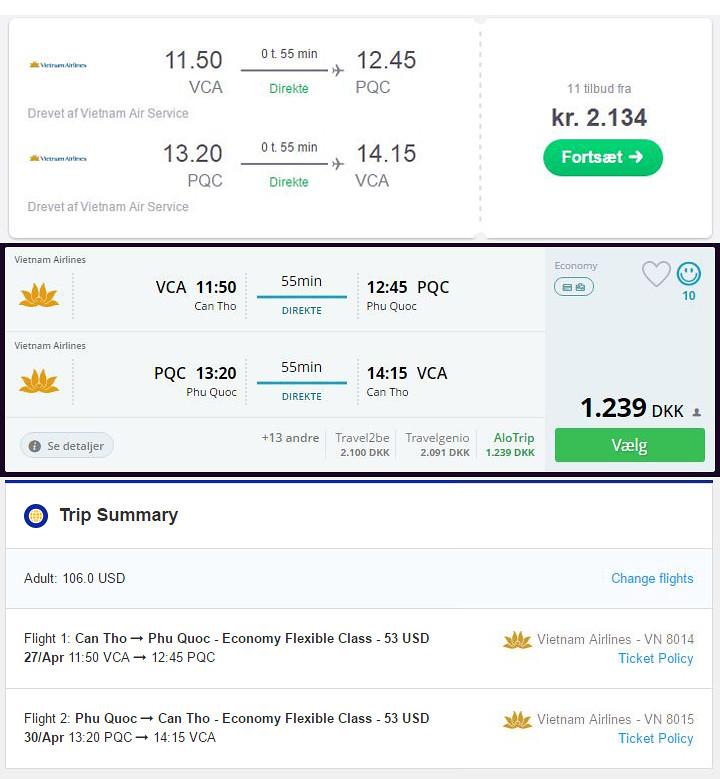 tjek flere steder for flybilletter