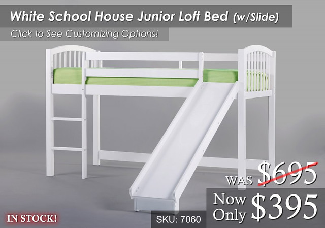 WhiteSchool Loft Bed wSlide