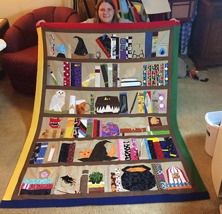 My Harry Potter bookcase quilt top is done! 🚂👓🔮⚡️ Now to free motion quilt this 😳 #harrypotterquilt #projectofdoom2015 #bookcasequilt #paperpecing #pod2015 #harrypotter