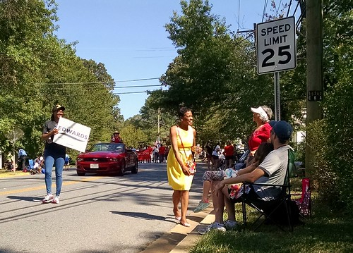 Senate candidate Donna Edwards shakes hands at the Greenbelt Labor Day Parade.