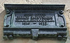 Photo of George Saintsbury bronze plaque