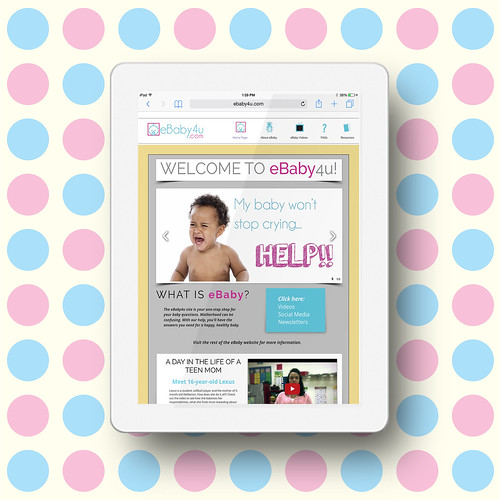 The eBaby4U homepage on an iPad