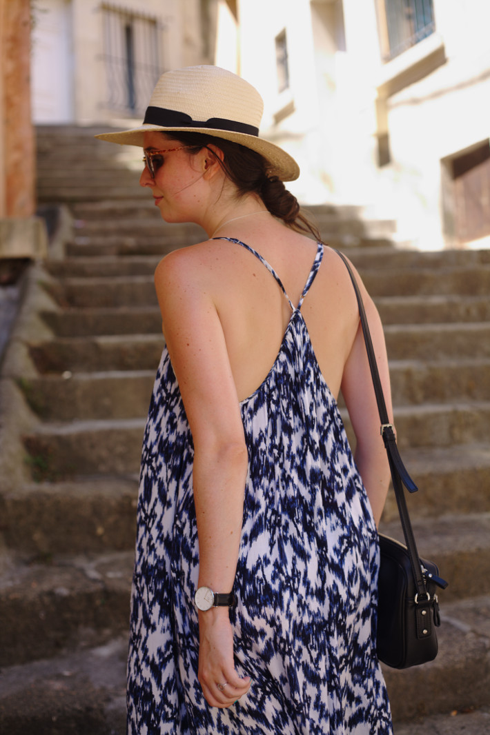 outfit: watercolour maxi dress, straw hat