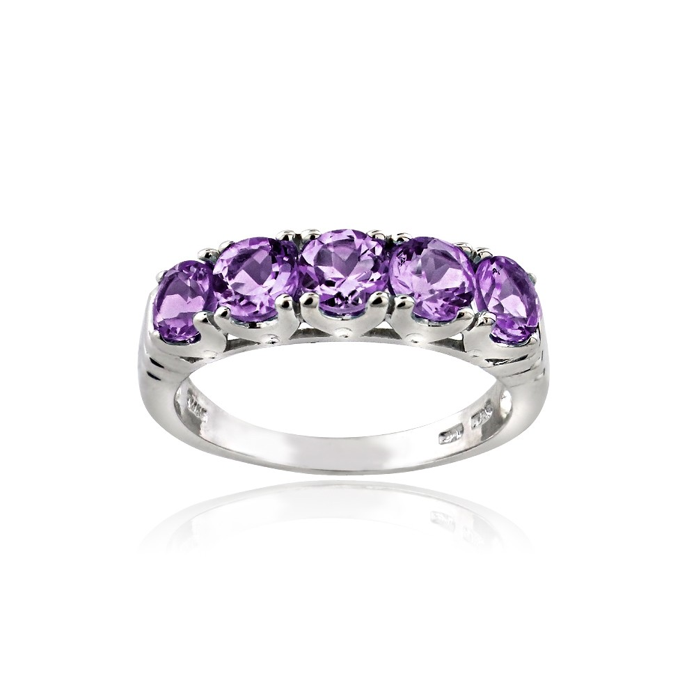 Half Eternity Band Bands: 925 Sterling Silver 1.25 Ct Amethyst Half Eternity Band Ring