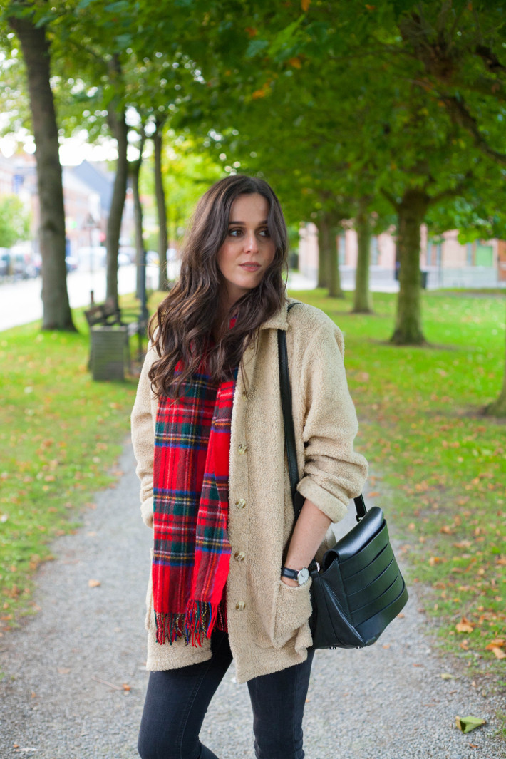 outfit: teddy coat, plaid scarf
