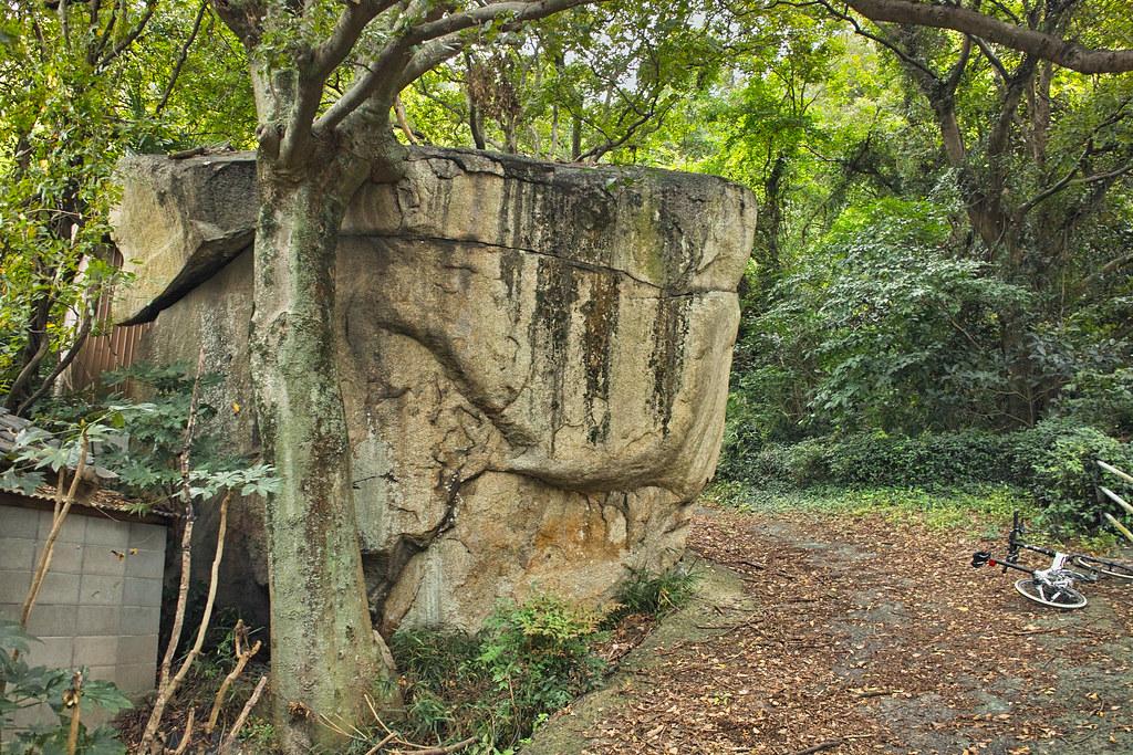 連島西浦小学校横の大岩