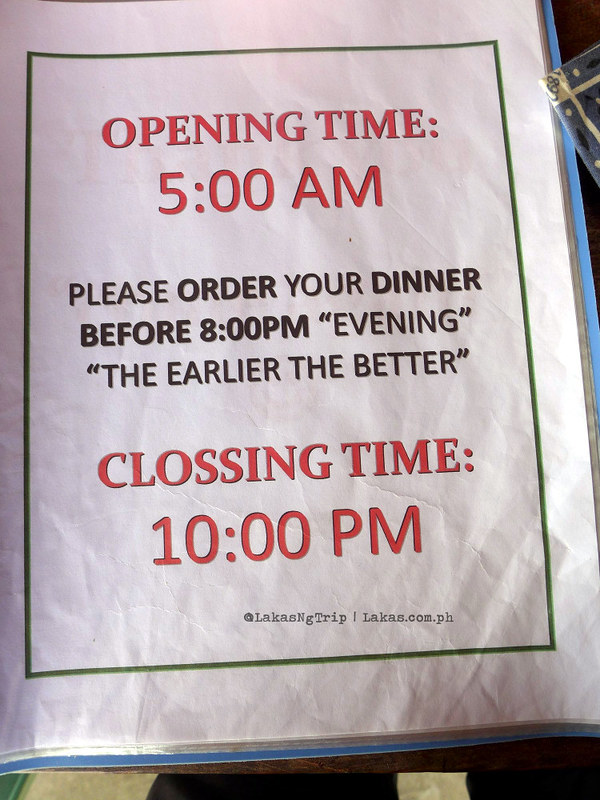 Restaurant Closing and Opening Time in Simon's Viewpoint Inn in Batad, Banaue, Ifugao