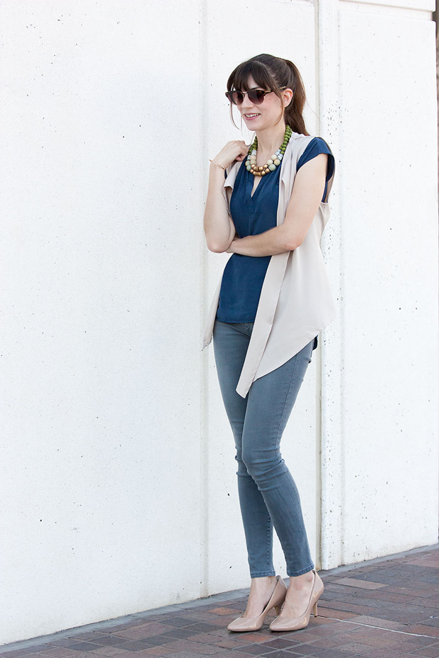 Shein Asymmetrical Vest, Gap denim, History and Industry necklace