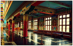 Carved and painted pillar tops & wall  -Bylakuppe Buddhist Monastery – The golden temple