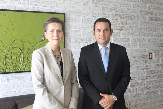 Reunión de trabajo sobre transición entre el Presidente electo Jimmy Morales y la Coordinadora Residente Valerie Julliand.