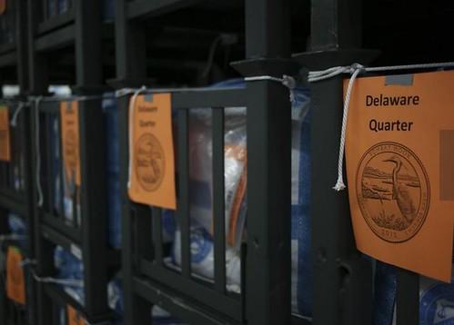 US Mint Denver quarter bins