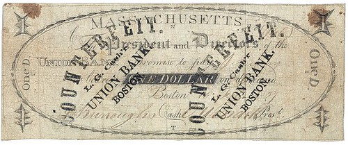 Union Bank $1 note couterfeit