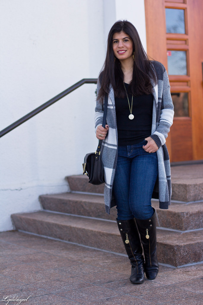 grey plaid sweater, yoga jeans, black knee high boots-8.jpg