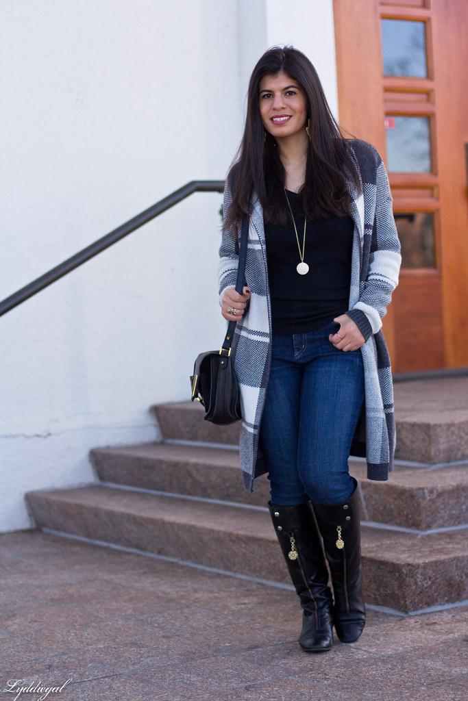 grey plaid sweater, yoga jeans, black knee high boots-8.jpg