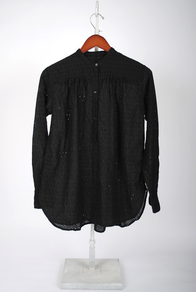 Eyelet Embroidery Rouched Blouse