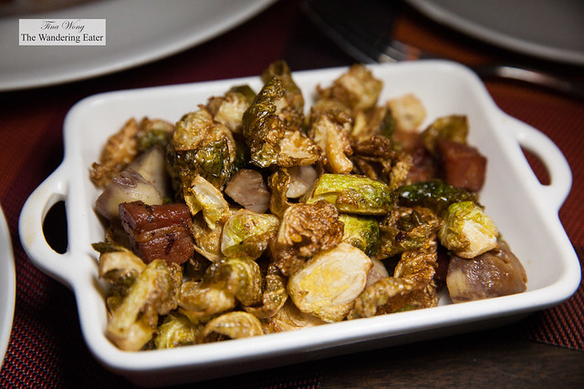 Side of caramelized Brussels sprouts, chestnuts and pancetta