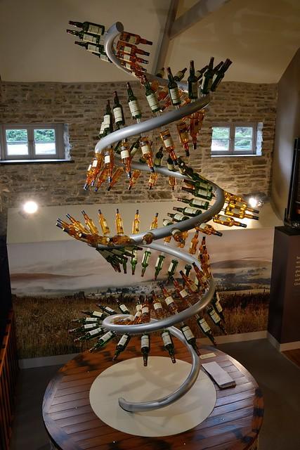 213-20160726_The Glenlivet Distillery-Banffshire-Visitor Centre-display of malt whisky bottles