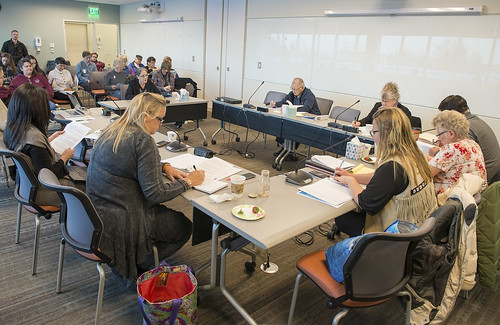 The tribe's Executive Council takes comments from tribal members during a quarterly meeting in December. The purpose of the meeting was to discuss the process for holding an election to remove federal oversight from any future amendments to the tribe's Co