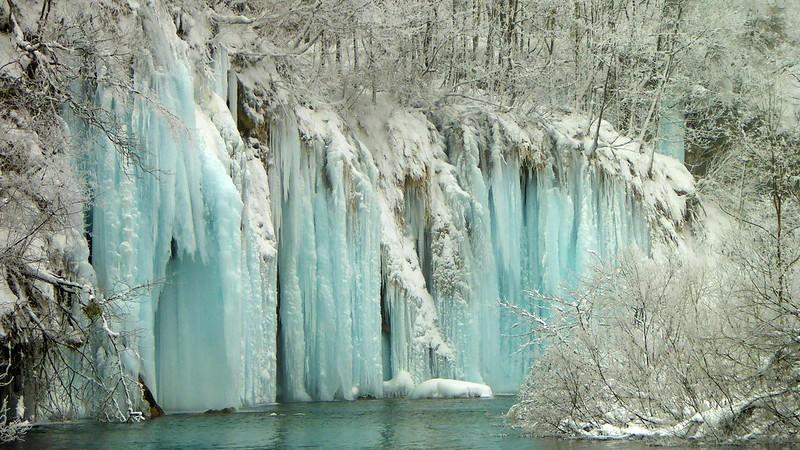 Frozen Plitvice Lakes, CROATIA, January 2017