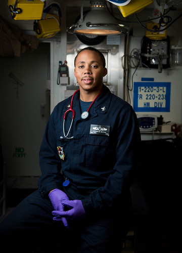 PACIFIC OCEAN - Hospital Corpsman 2nd Class Andrew Watson poses for a photo aboard USS Chung-Hoon (DDG 93).