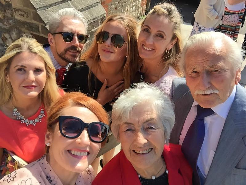 Wedding party group selfie