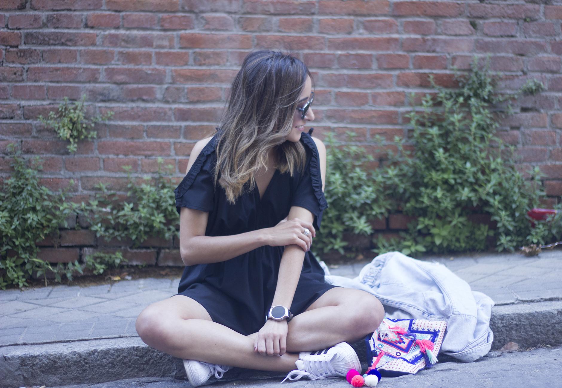 Black Jumpsuit With Adidas SuperStar15