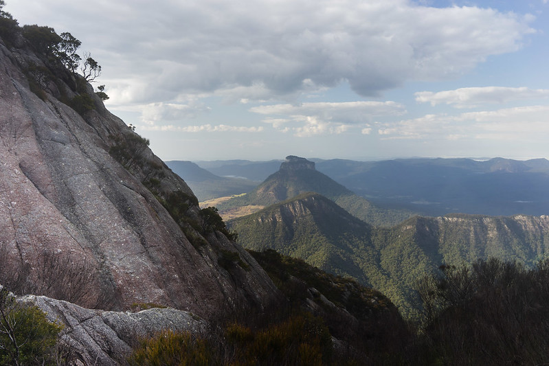 The steep ascent to the summit with Mount Lindsay in the background - Mount Barney National Park