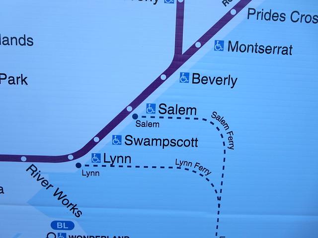 MBTA Massachusetts Bay Transportation Authority train map to Salem Massachusetts from Boston MA