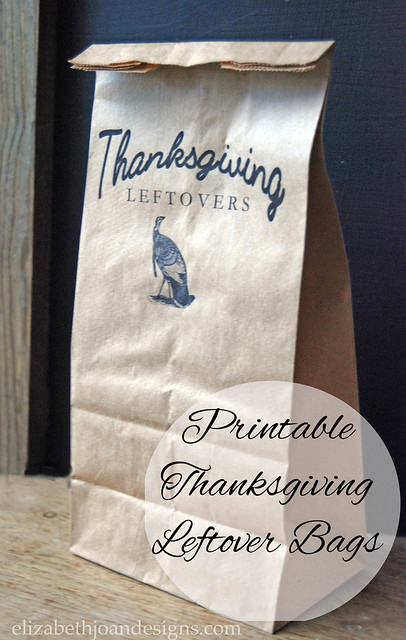 DIY Printable Thanksgiving Leftover Bags