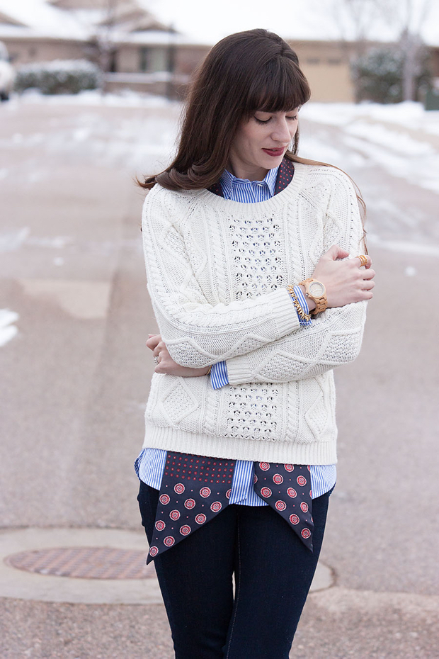 Cream Sweater, Layered Fall Outfit, Striped Shirt, Jord Watch