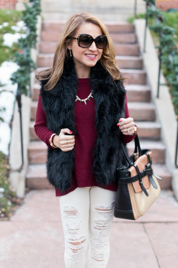 LOFT Tunic + Furry Vest