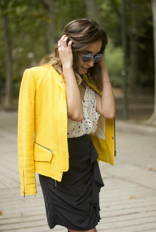 Yellow Jacket Draped Grey Skirt Outfit25