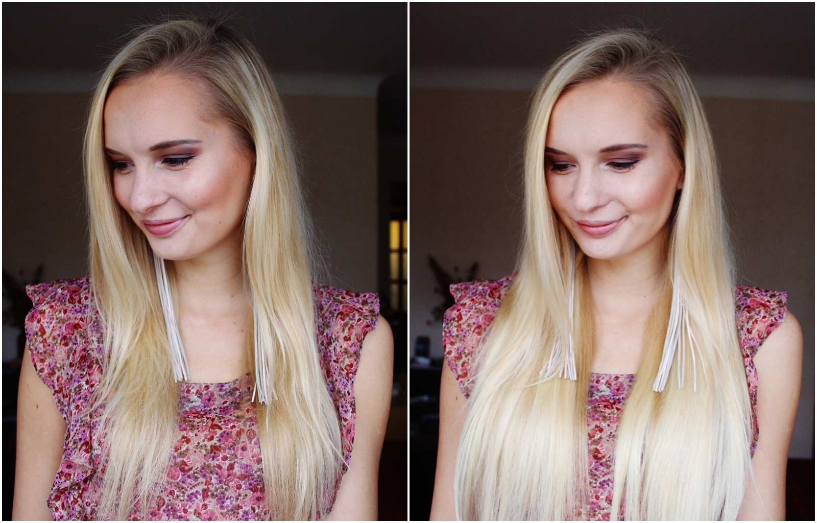 Before and after clip in hair extensions