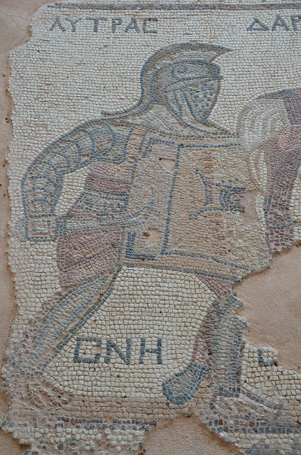 Detail of a mosaic depicting gladiators being separated by a referee, late-3rd century AD, House of the Gladiators, Kourion, Cyprus