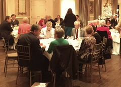 Dinner conversation at the holiday party.
