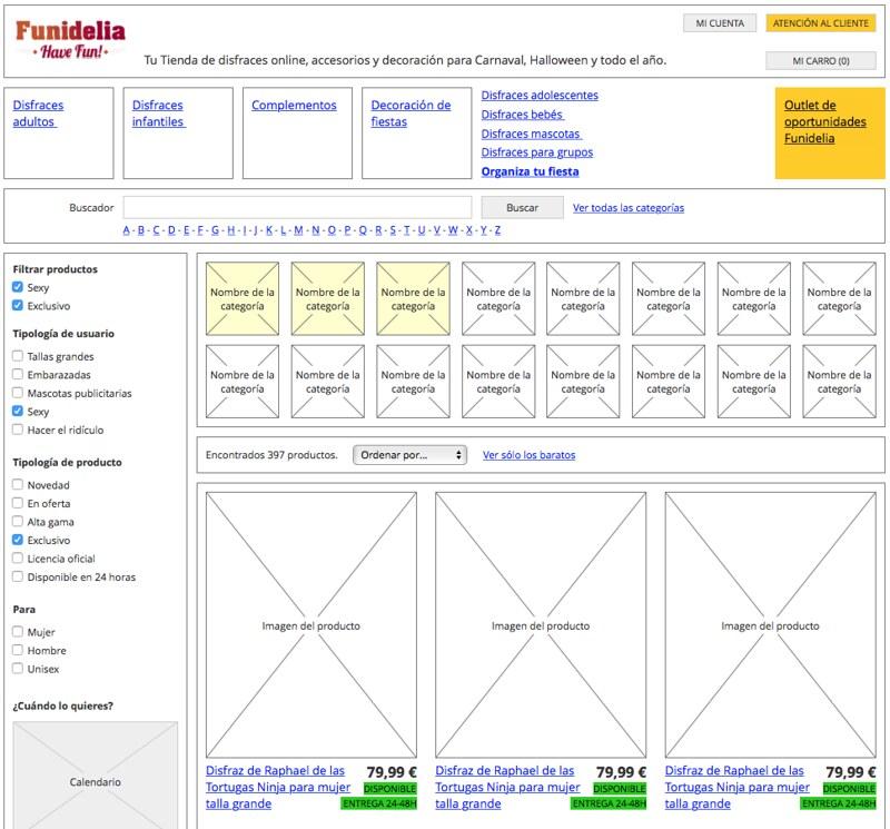 Wireframe del listado de producto de funidelia.es
