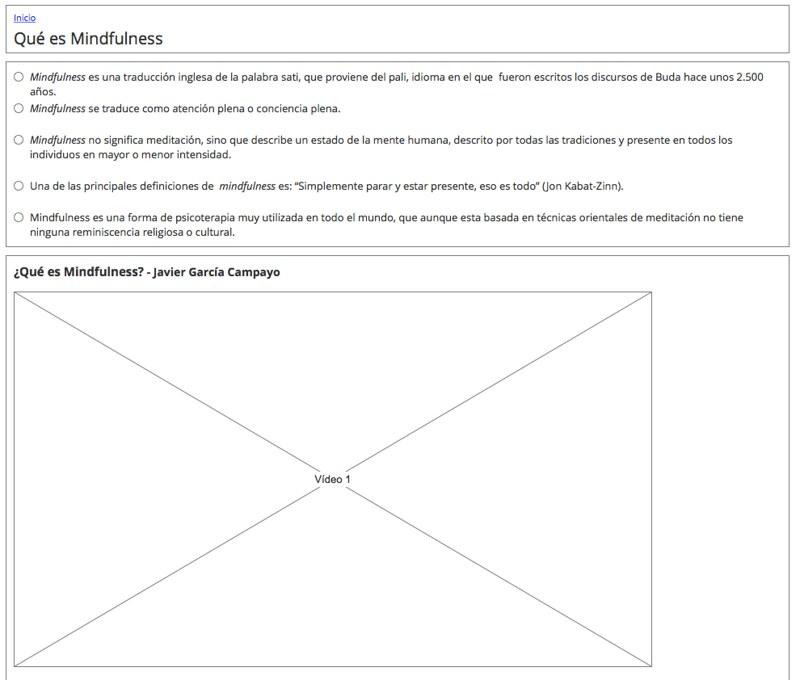 Wireframe de la sección Qué es, de Mindfulness Web