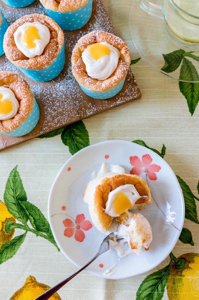 Lemon Curd Hokkaido Chiffon Cupcakes