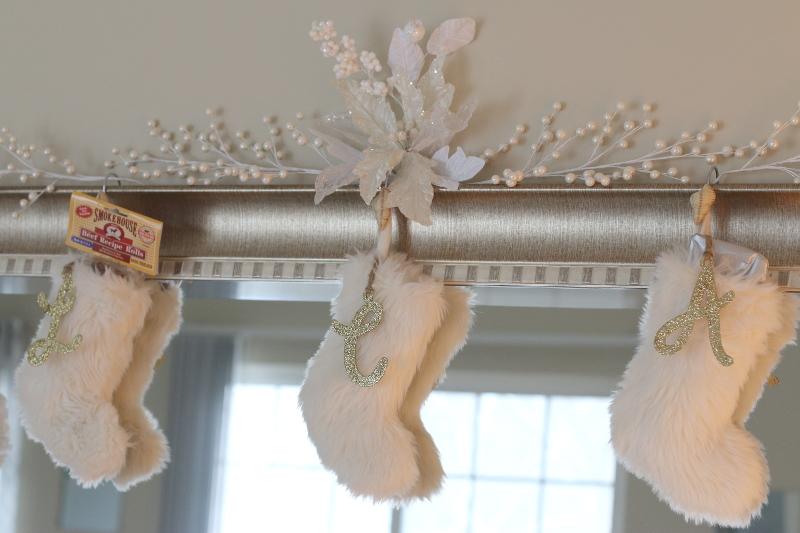 white faux fur stockings