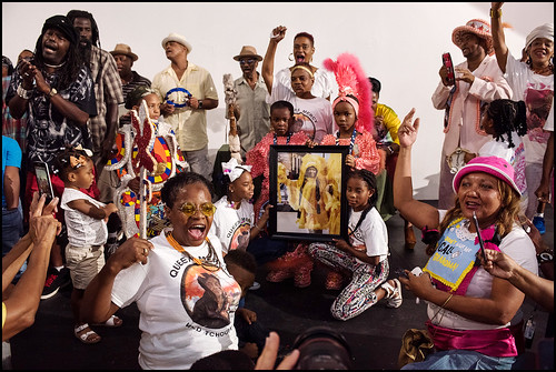 Members of the Mardi Gras Indian community close out the Mardi Gras Hall of Fame Awards Ceremony at the Ashe Cultural Arts Center along Oretha Castle Haley Blvd in New Orleans, August 14. 2016. Photo by Ryan Hodgson-Rigsbee.