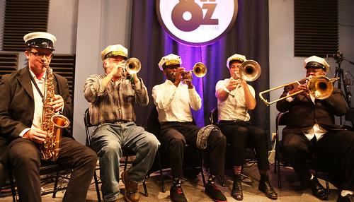 The Eureka Brass Band: James Evans, Jamie Wight, Kid Chocolate, Charlie Halloran, Robert Harris. Photo by Bill Sasser
