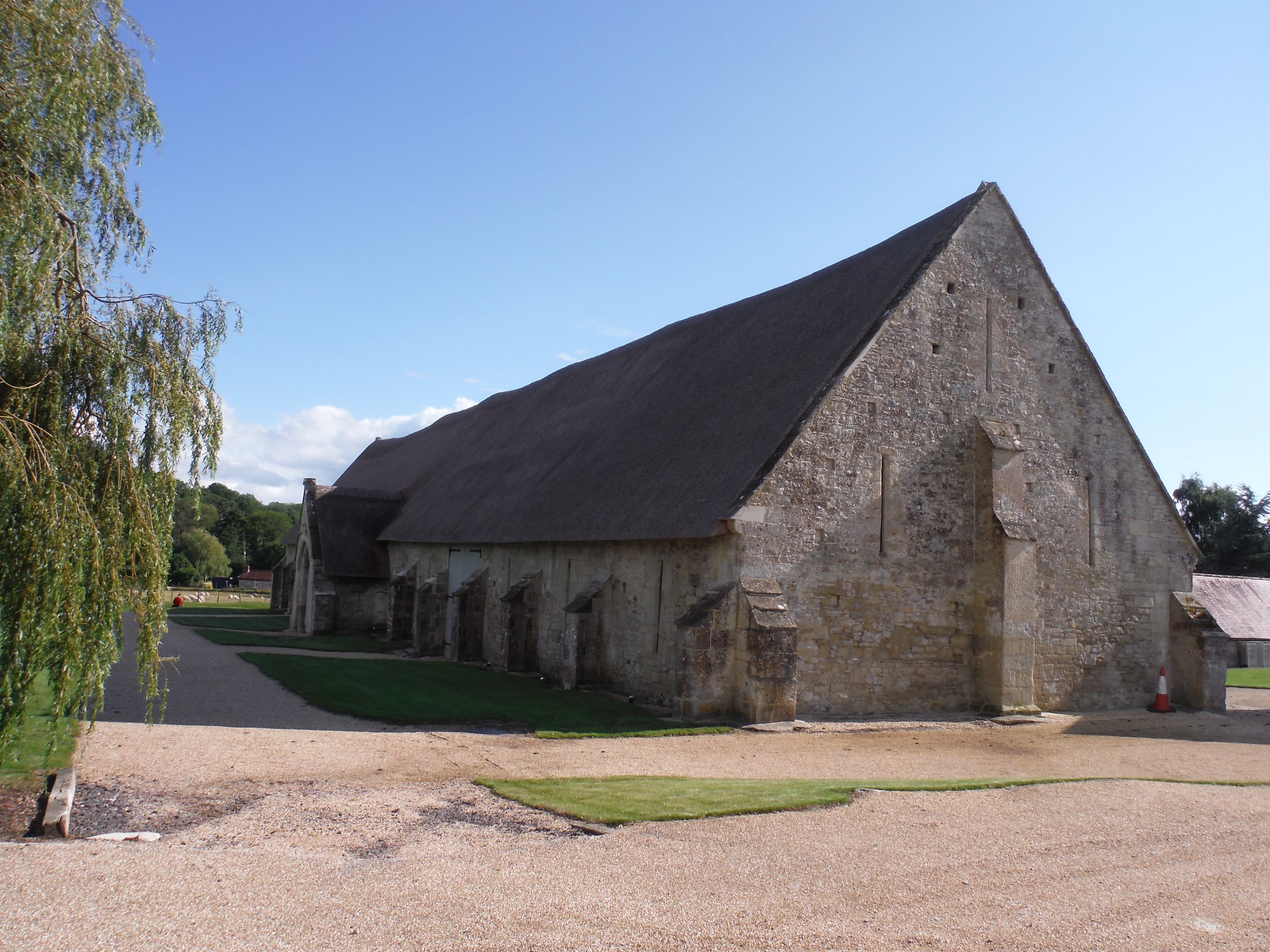 Tithe Barn, Tisbury, heavily buttressed SWC Walk 248 Tisbury Circular via Hindon