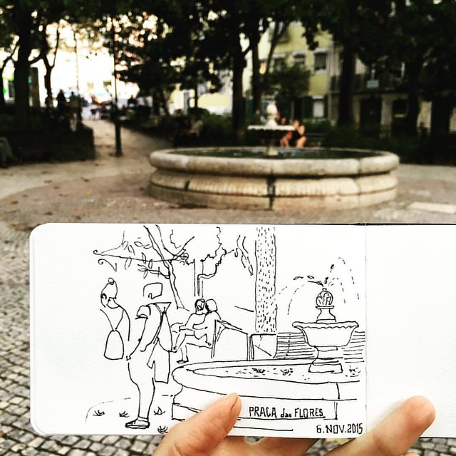 As I was sketching, a little girl approached me and immediately asked if she could watch. She then started to entertain the best conversation with me, told me about the mushrooms the tree in her school's yard has, how she is a grown up and is now in first