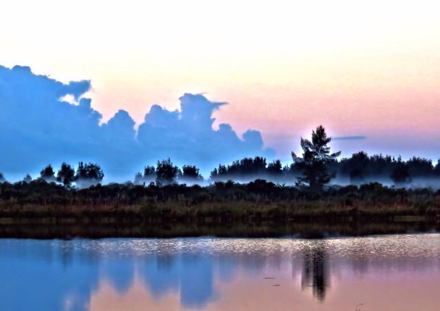 Fog lifting over opposite shore HDR 20151113