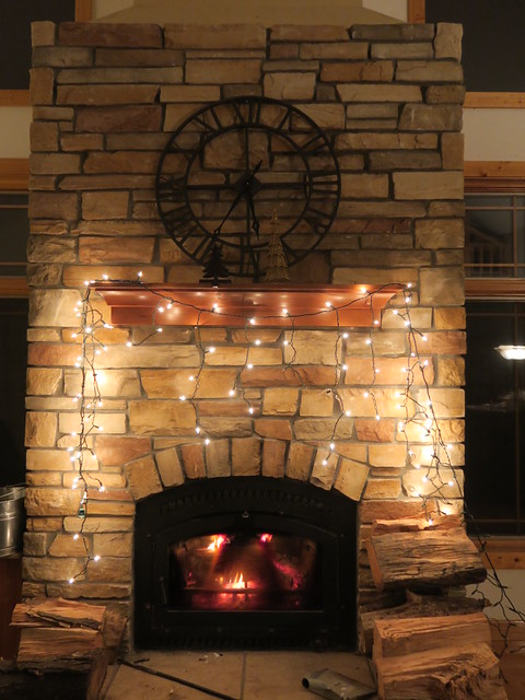 Icicle lights above fireplace